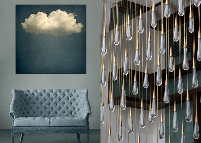 MINI MOOD BOARD: SHOWERS. Art by Chessy Welch with chandelier by Design Haus Liberty. #nancyherrmann #moodboard #showers