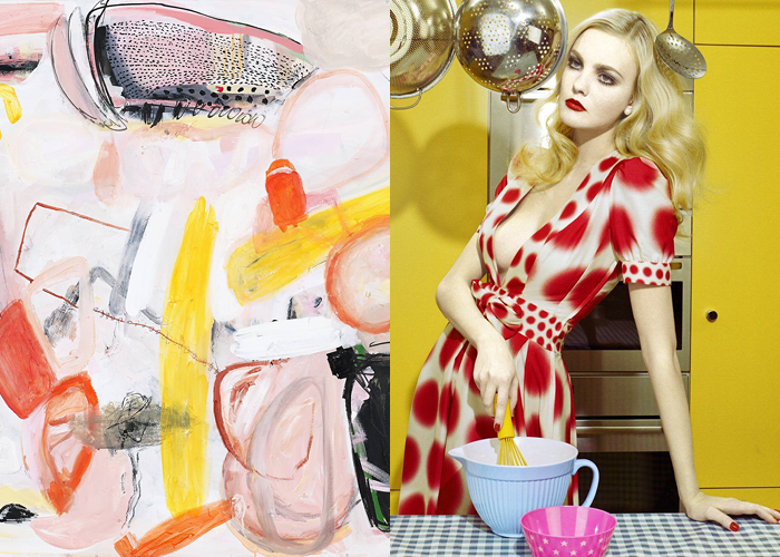MINI MOOD BOARD: MIX. Abstract painting by Anna Medik with fashion photo by Miles Aldridge. Pairing made with @melaniebiehle #nancyherrmann