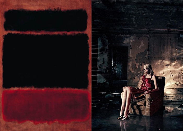MINI MOOD BOARD: KILLING TIME. Painting by Mark Rothko with photo by Mikael Jansson. #nancyherrmann #moodboard #killingtime