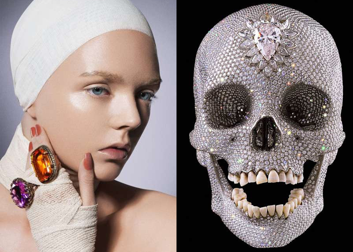 MINI MOOD BOARD: VAINGLORY. Photo by Bartlomiej Chabalowski with art by Damien Hirst. #nancyherrmann #moodboard #vainglory