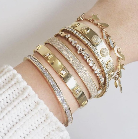 Established - Baguette Cuff Shay - Baguette Diamond Bullet Bangle Shay - 6 Row Pave Bangle Suzanne Kalan - Baguette Fireworks Cluster Bangle Established - Tennis Bracelet Logan Hollowell - Moon Phases Cuff Andrea Fohrman - Phases of the Moon Charm Bracelet