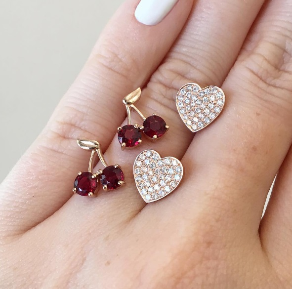 Established - Cherry Stud Earrings Established - Heart Pave Stud Earrings