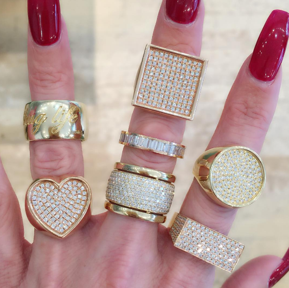 Established - Thug Life Ring Established - Heart Surface Ring Established - Square Surface Ring Established - Emerald Cut Diamond Ring Established - Trio Ring with Diamonds Established - No ID Ring Established - Circle Surface Ring