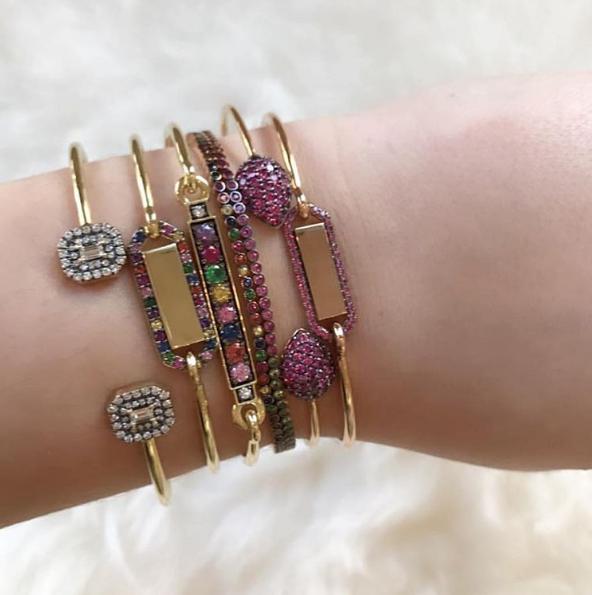 Jemma Wynne - Double Pave Octagon Bangle Jemma Wynne - Rainbow Personalized Rectangle Closed Bangle Jemma Wynne - Rainbow Prive Closed Bar Bangle Kismet - Rainbow Sapphire Tennis Bracelet Jemma Wynne - Ruby Pear Bangle Jemma Wynne - Personalized Ruby Rectangle Closed Bangle