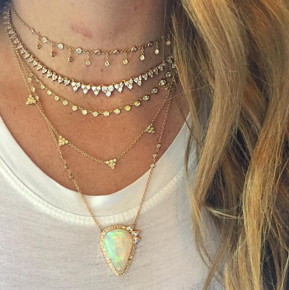 Jacquie Aiche - Shaker Diamond Choker Jacquie Aiche - Diamond Elizabeth Necklace Jacquie Aiche - 31 Diamond Emily Necklace Jacquie Aiche - Freeform Opal Necklace