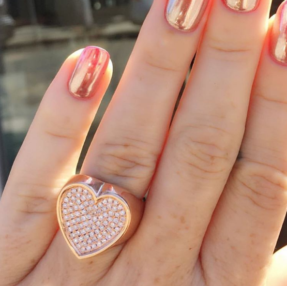 Established - Heart Surface Ring with Diamonds