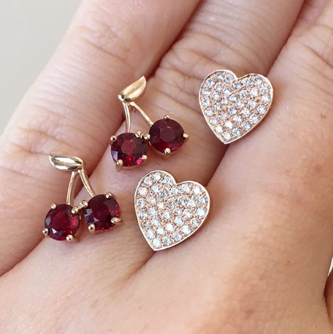 Established - Cherry Studs Established - Heart Pave Stud Earrings
