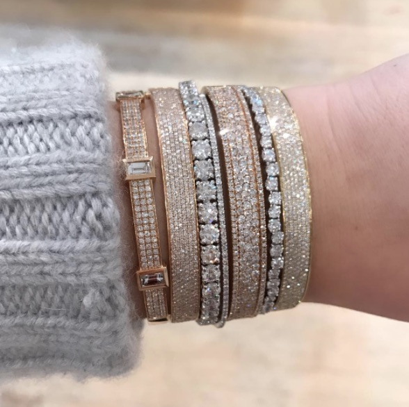 Shay - Triple Bezel Baguette Bangle Shay - Six Row Pave Diamond Bangle Jaimie Geller Jewelry - Diamond Tennis Bracelet Shay - Half Diamond Single Line Bangle Shay - Pave Diamond Nameplate Bangle Suzanne Kalan - Starburst Set Diamond Bangle