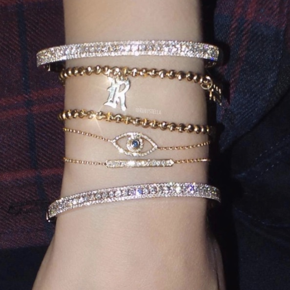 Ruby Stella - Diamond Stackable Bangle Ruby Stella - Diamond Cut Bead Bracelet Ruby Stella - Diamond Sapphire Evil Eye Bracelet Ruby Stella - Diamond Bar Bracelet