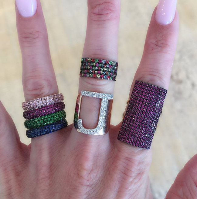 Jaimie Geller - Rainbow Eternity Bands Kismet by Milka - Mixed Sapphire Ring Kismet by Milka - Large Initial Ring Kismet by Milka - Large Ruby Ring