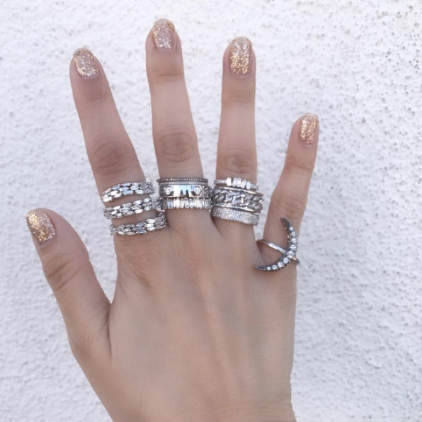 Suzanne Kalan - Thick Spiral Ring Shay - Channel Eternity Band Shay - Octagon Diamond Bullet Ring Suzanne Kalan - Eternity Baguette Band Suzanne Kalan - Pave and Baguette Band Shay - Alternating Pave Diamond Nameplate Link Ring Shay - Four Row Full Pave Band Shay - 9 Diamond Crescent Moon Ring