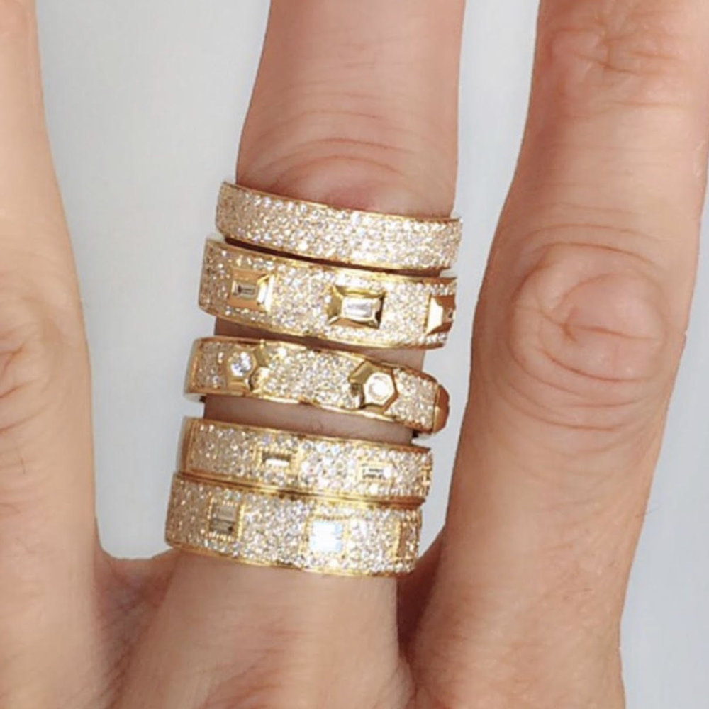 Shay - Four Row Pave Ring Shay - Pave Diamond Baguette Bullet Ring Shay - Pave Octagon Diamond Ring Shay - Four Row Pave Embossed Baguette Ring Shay - Six Row Pave Embossed Baguette Ring