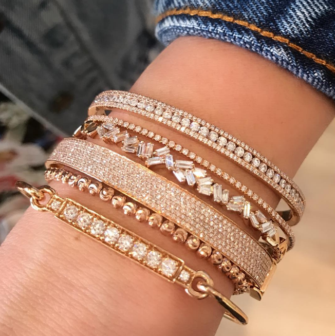 Jemma Wynne - Prive Diamond Bar Closed Bangle Ruby Stella - Diamond Cut Bead Bracelet Shay - Six Row Pave Diamond Bracelet Suzanne Kalan - Fireworks Cluster Baguette Bracelet Shay - Half Diamond Single Line Bangle Ruby Stella - Diamond Stackable Bangle