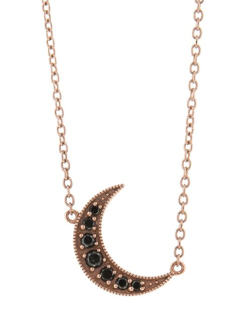 adjustable chain necklace pendant products rose or crescent gold karat diamond the with