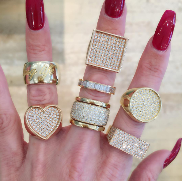 Established - Thug Life Ring Established - Heart Surface Ring Established - Square Surface Ring Established - Baguette Cut Diamond Band Established - Trio Ring with Diamonds Established - Circle Surface Ring Established - No ID Ring with Diamonds