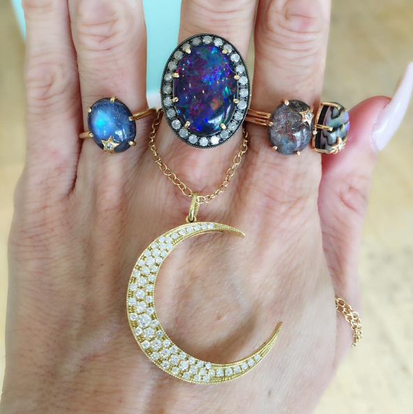Andrea Fohrman - Mini Star Rainbow Moonstone Ring Andrea Fohrman - Australian Opal Ring Andrea Fohrman - Large Luna Necklace Andrea Fohrman - Mini Star Ruby Kynite Ring Andrea Fohrman - Mini Star Mother of Pearl Ring