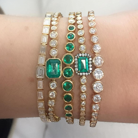 Jemma Wynne - Baguette Slider Bracelet Jemma Wynne - Emerald and Diamond Slider Bracelet Jemma Wynne - Emerald and Diamond Rounds Slider Bracelet Jemma Wynne - Emerald Halo and Diamond Slider Bracelet Jemma Wynne - Prive Luxe Slider Bracelet