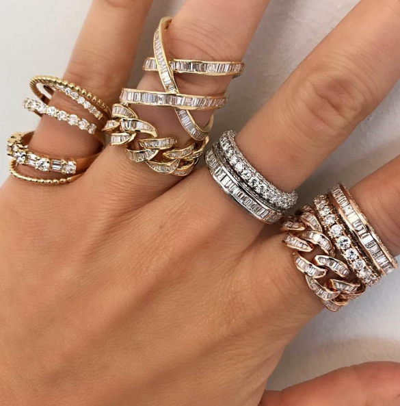 Shay - Open Mixed Diamond Ring Shay - Overlapping Baguettes Ring Shay - Baguette Diamond Jumbo Link Ring Shay - Three Sided Eternity Band Shay - Three Sided Eternity Band with Baguette Center