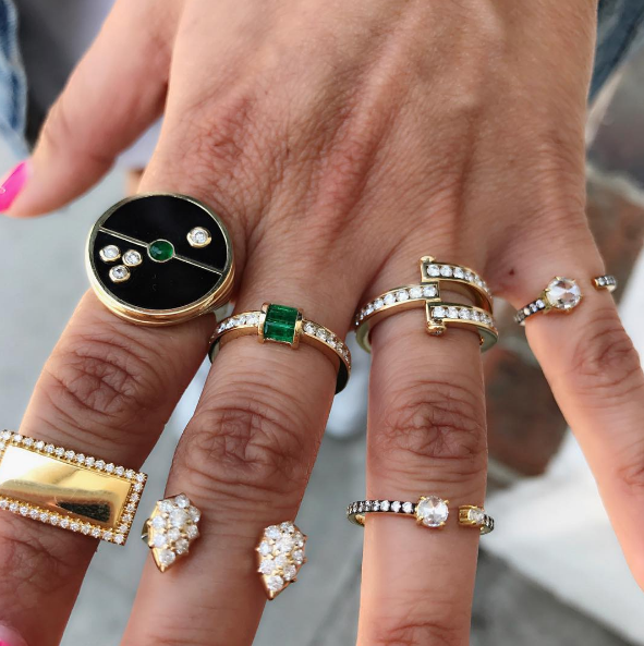 Retrouvai - Onyx Compass Ring Jemma Wynne - Diamond Personalized Ring Retrouvai - Diamond and Emerald Channel Set Ring Carbon & Hyde - Stella Ring Retrouvai - Diamond Magna Ring Jemma Wynne - Small Rosecut Diamond Open Ring Jemma Wynne - Large Rosecut Diamond Open Ring