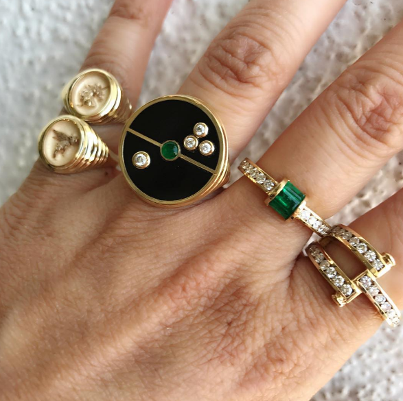 Retrouvai - Unicorn Signet Ring Retrouvai - Flying Pig Signet Ring Retrouvai - Onyx Compass Signet Ring Retrouvai - Diamond and Emerald Channel Set Ring Retrouvai - Diamond Magna Ring