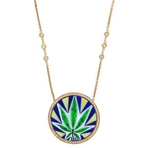 in product jewelry aiche jacquie diamonds leaf white with lyst pendant gold yellow large necklace