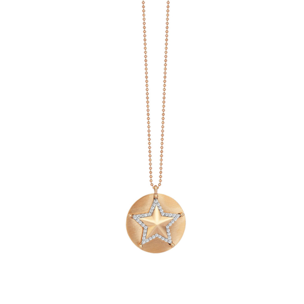 Gold Disc Sheriff Star Necklace Jaimie Geller Jewelry