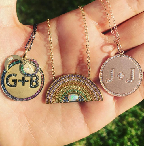 Custom gold initial necklace jaimie geller jewelry custom gold initial necklace aloadofball Image collections