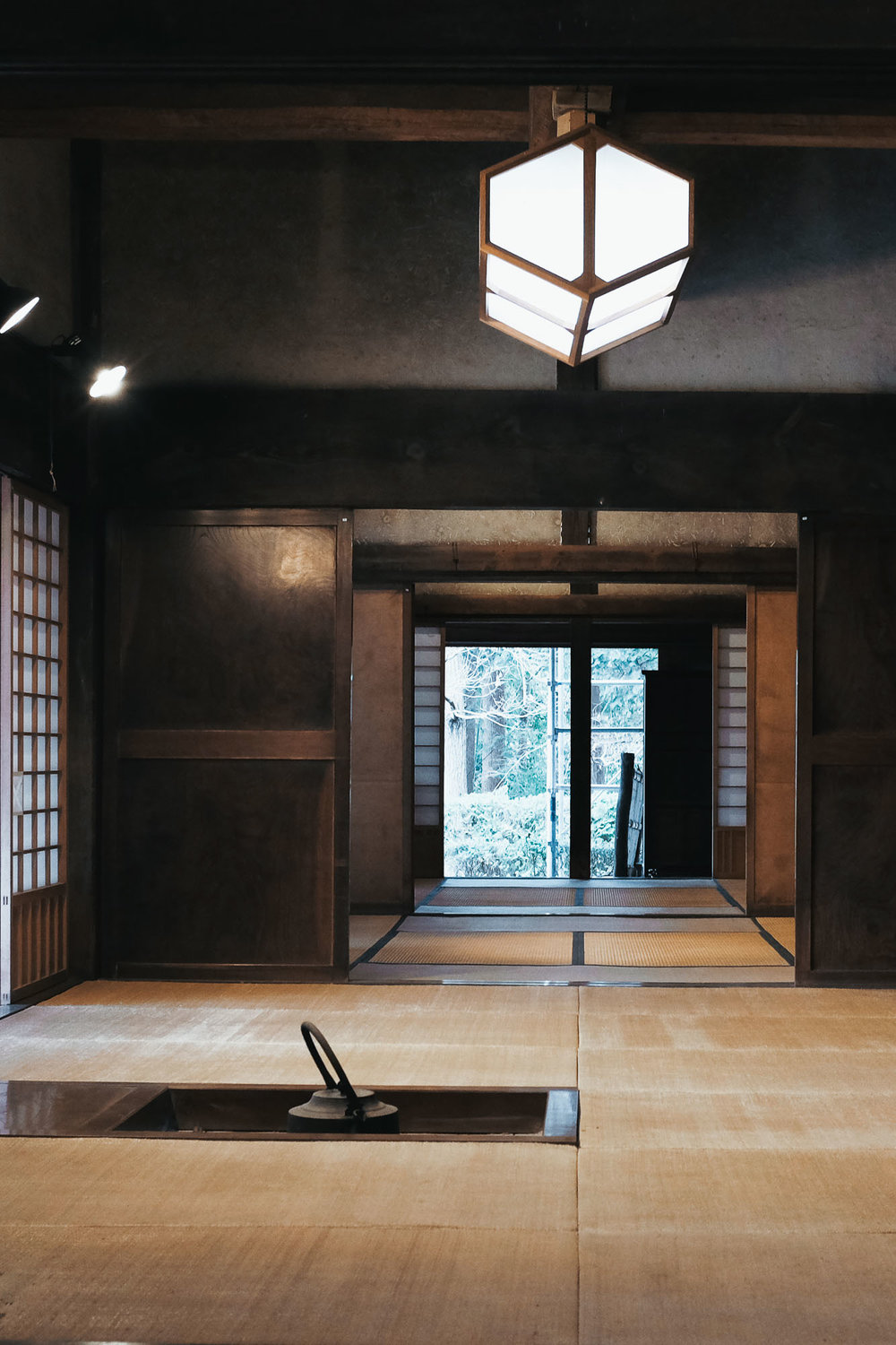 The irori (fire-pit) in Hamada's personal residence.