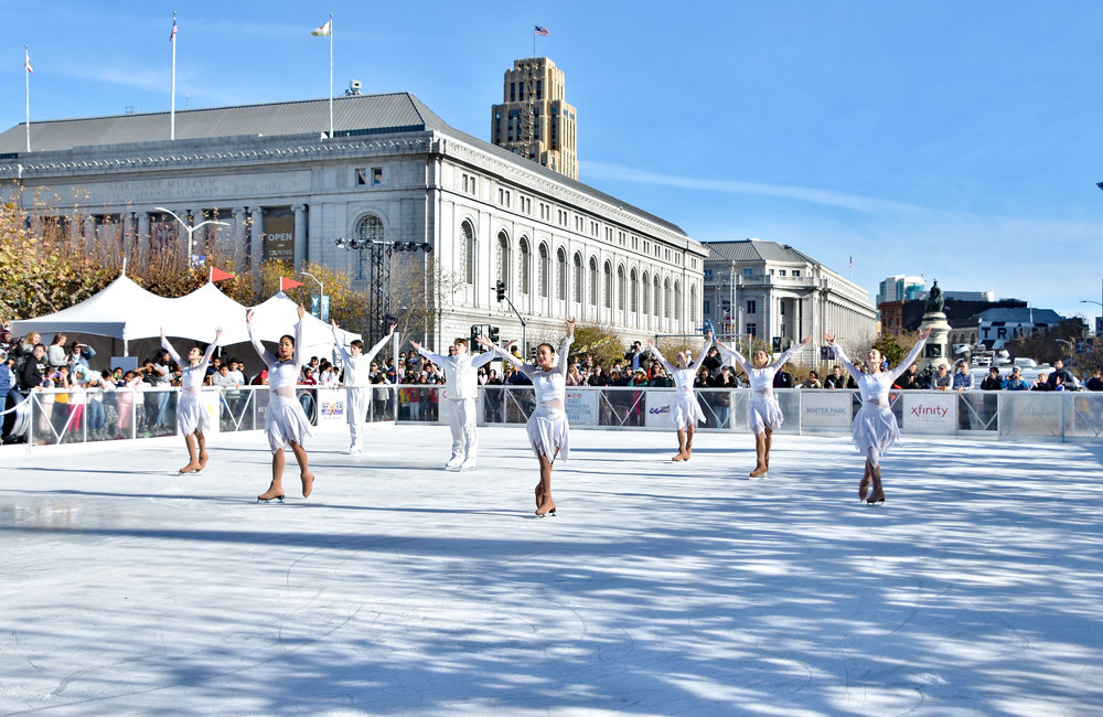 The San Francisco Ice Theatre performs at The Winter Park at Civic Center.