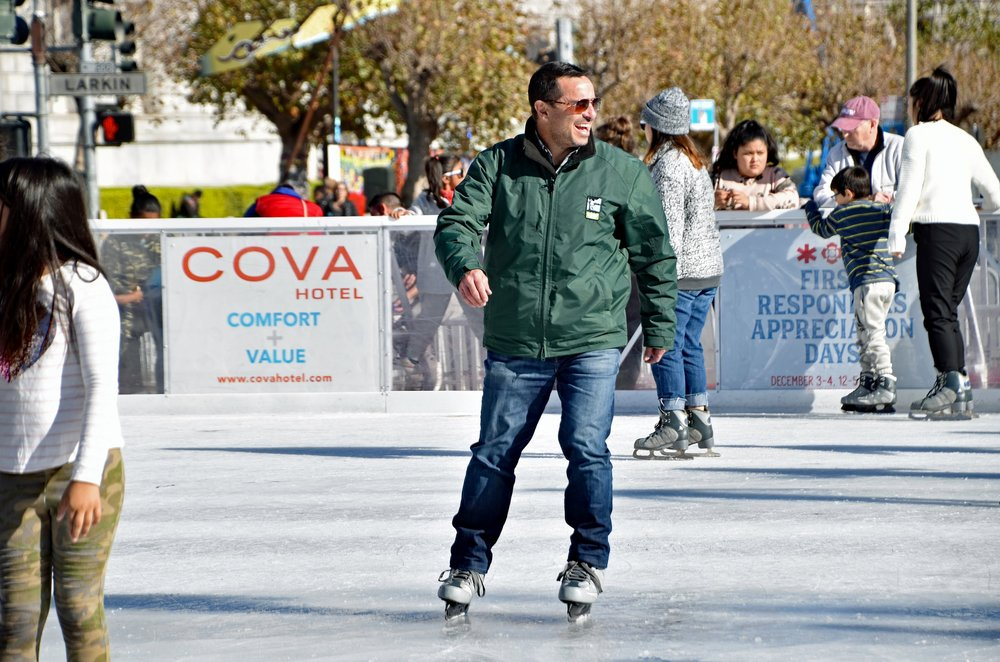 Phil Ginsburg, General Manager of the San Francisco Recreation and Park Department, takes to the ice after the opening ceremony of The Winter Park at Civic Center.