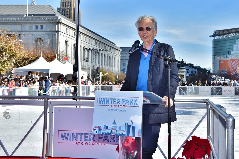Willy Bietak, President of Willy Bietak Productions, which operates the rink, offers remarks at the opening ceremony of The Winter Park at Civic Center