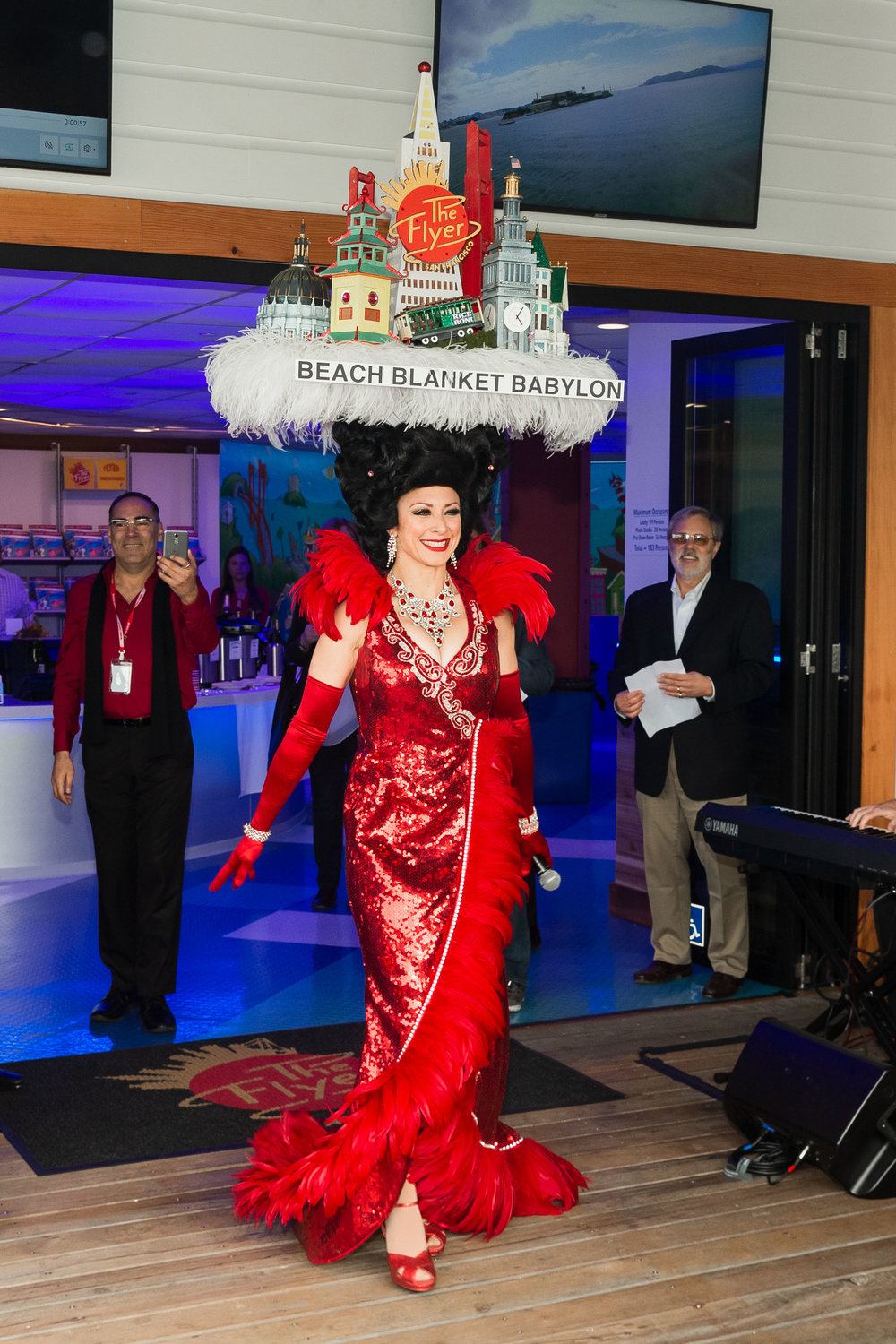 Steve Silver's Beach Blanket Babylon performs at the grand opening for The Flyer - San Francisco