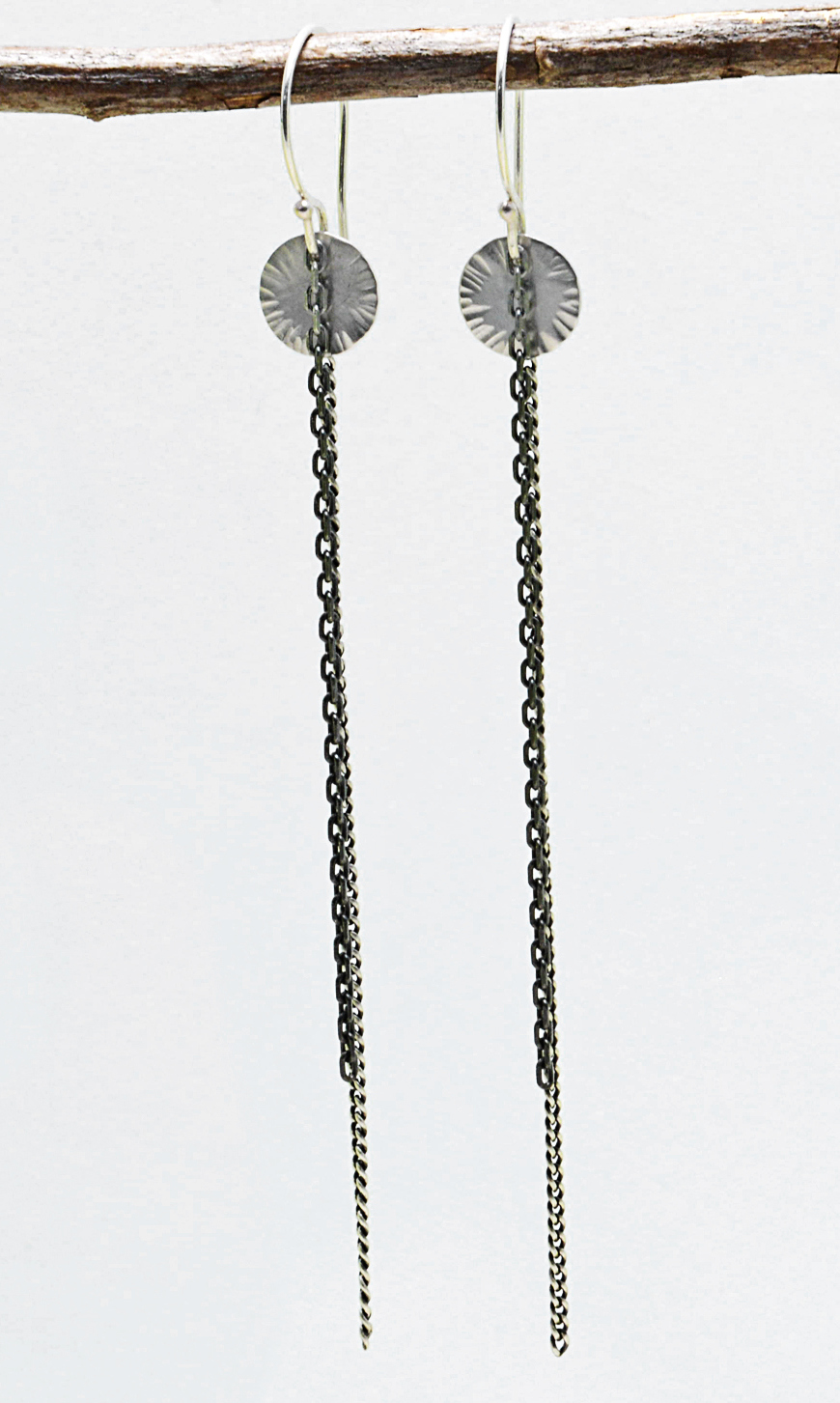 sequin earrings with chains