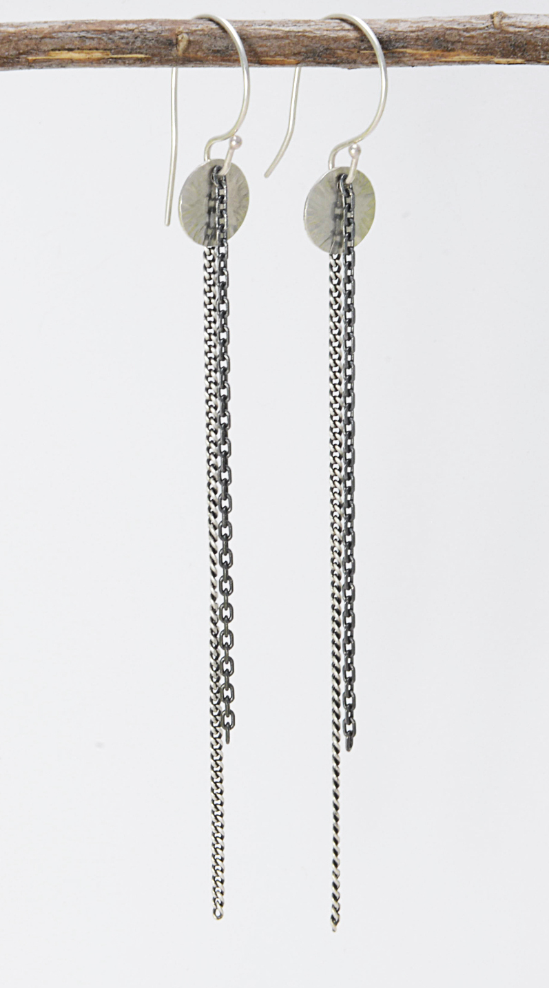 sequin earrings with chains (different view)