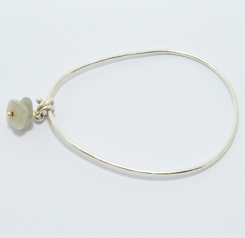 Sterling Bangle with Moonstones $72