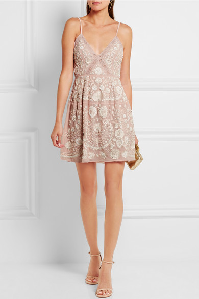 wear to: sunny summer outdoor wedding Needle & Thread | Crochet-trimmed embellished embroidered crepe mini dress | $570