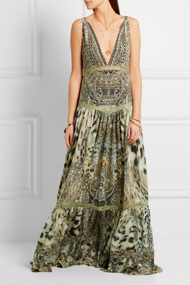 wear to: an extravagantly decorated wedding  Camilla | Espiritu lace-trimmed printed silk dress | $850
