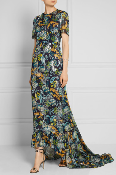 wear to: an indoor formal wedding Anna Sui | Printed fil coupé silk-blend chiffon dress | $765