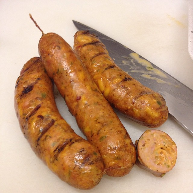 House made chicken jalapeño cheddar hot links @bludsosbar tonight and through the weekend. Limited.