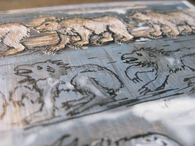 Detail of a toned and partially carved wood engraving block, Intermediate Forms.  Ursula Minervini, 2012