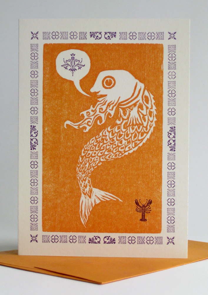 A1 Notecard: Fish with a Beard (orange)