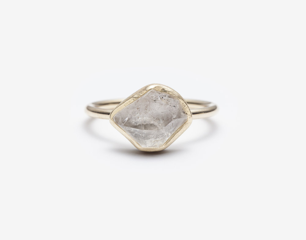 Clear Herkimer Diamond Ring, 1.20ct. / 14k yellow gold, polished / wholesale $595.00