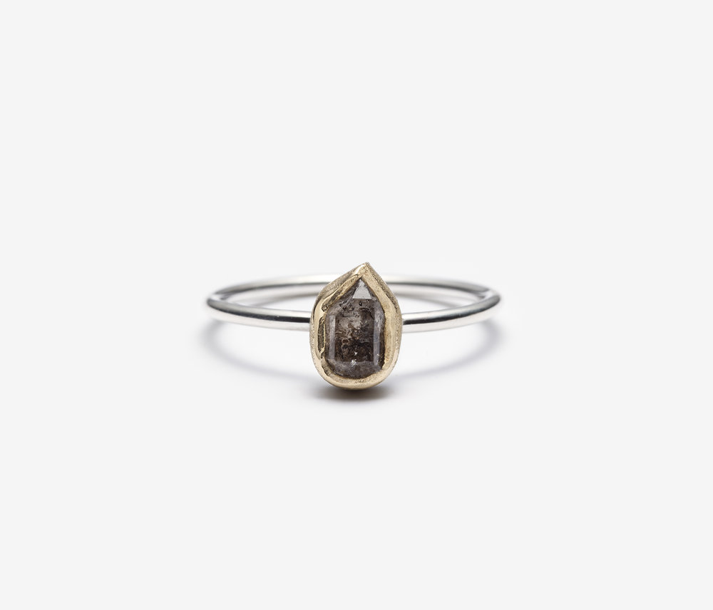 Choco Herkimer Diamond Ring, 0.90ct. / 14k yellow gold, polished / wholesale $375.00