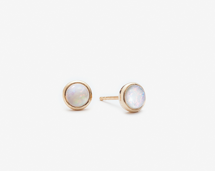 Round Opal Studs / 14k yellow gold, polished / wholesale $115.00