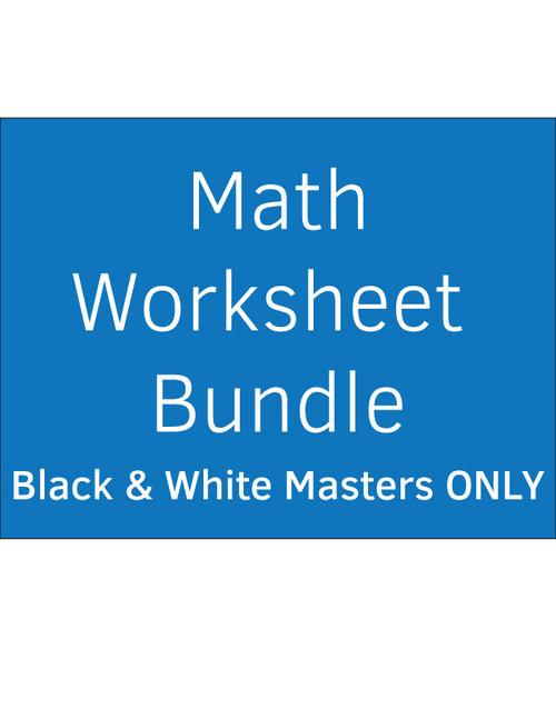 Math Worksheet Bundle Black White Masters Only Montessori Plus