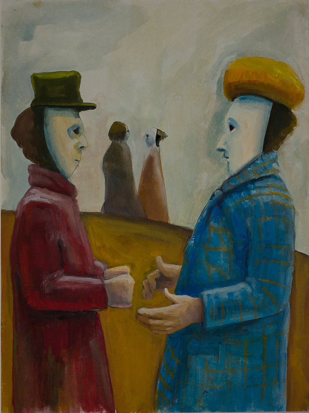 Study - Two figures with hats
