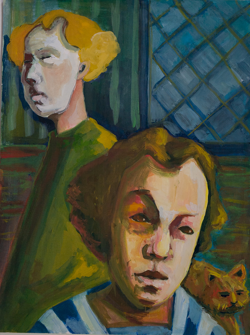 Study - Two figures and a cat
