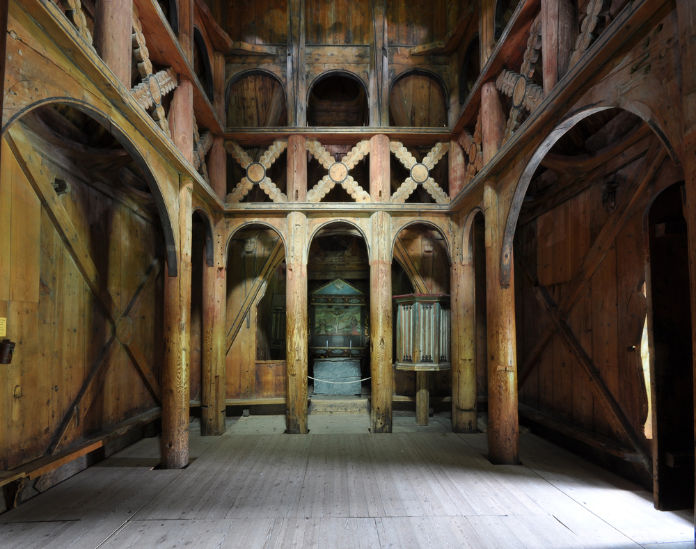 Borgund Stave Church Wood Interior