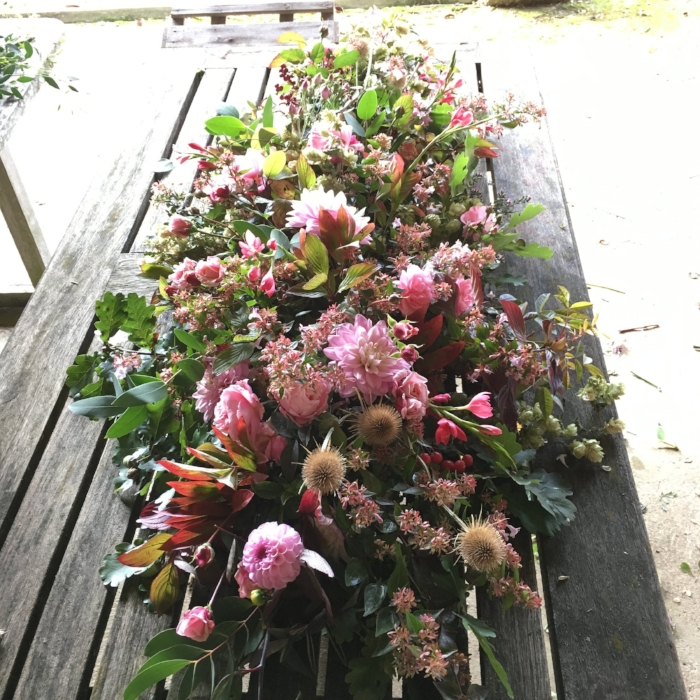 September coffin flowers
