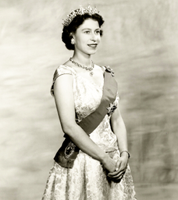 A young Queen Elizabeth II exuding regal Glamour.